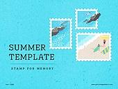 파워포인트, 메인페이지, 추억, 프레임, 우표, 여름, 계절