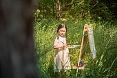한국인, 어린이 (인간의나이), 미술 (미술과공예), 미술수업, 색칠놀이 (페인팅하기)
