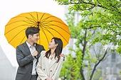 한국인, 커플 (인간관계), 우산 (액세서리), 비 (물형태), 장마