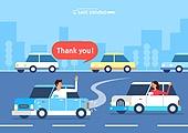 운전, 예절 (컨셉), 양보, 웨이빙 (제스처), 도로, 자동차