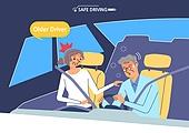 운전, 예절 (컨셉), 노인 (성인), 자동차
