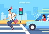 운전, 예절 (컨셉), 횡단보도, 보행자, 놀람 (컨셉), 통화중 (움직이는활동)