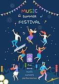 음악축제 (엔터테인먼트이벤트), 밤 (시간대), 여름, 청년 (성인), 가랜드 (장식품), 춤, 음악