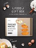 음식, 포장 (인조물건), 상자, 베이킹, 팬케이크 (달콤한음식)