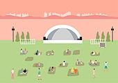 음악축제 (엔터테인먼트이벤트), 관객 (역할), 콘서트홀 (엔터테인먼트빌딩), 여름, 잔디밭 (경작지), 일몰 (땅거미)
