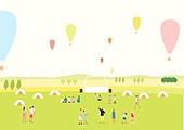 음악축제 (엔터테인먼트이벤트), 관객 (역할), 콘서트홀 (엔터테인먼트빌딩), 여름, 잔디밭 (경작지), 열기구, 초원 (자연의토지상태)