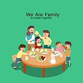 밥, 식사, 가족, 식탁, 라이프스타일, 대가족 (가족)
