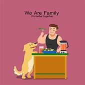 밥, 식사, 가족, 식탁, 라이프스타일, 혼밥, 반려동물, 애완견 (개)