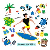 캐릭터, 오브젝트 (묘사), 라인아트 (일러스트기법), 팬시, 여름, 서핑보드 (수중스포츠장비)