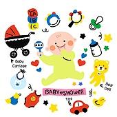 캐릭터, 오브젝트 (묘사), 라인아트 (일러스트기법), 팬시, 아기 (인간의나이), 유모차, 딸랑이