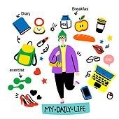 캐릭터, 오브젝트 (묘사), 라인아트 (일러스트기법), 팬시, 학생, 대학생, 하이힐