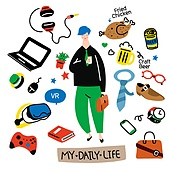 캐릭터, 오브젝트 (묘사), 라인아트 (일러스트기법), 팬시, 비즈니스맨, 노트북컴퓨터 (개인용컴퓨터)