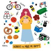 캐릭터, 오브젝트 (묘사), 라인아트 (일러스트기법), 팬시, 여성 (성별), 취미, 자전거, 볼링핀