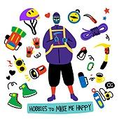 캐릭터, 오브젝트 (묘사), 라인아트 (일러스트기법), 팬시, 안전모, 취미, 하이킹 (아웃도어)