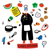 캐릭터, 오브젝트 (묘사), 라인아트 (일러스트기법), 팬시, 제빵기술자 (요식업종사자), 수박, 프라이팬