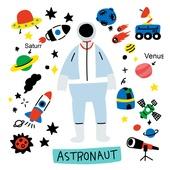 캐릭터, 오브젝트 (묘사), 라인아트 (일러스트기법), 팬시, 우주비행, 우주비행사, 로켓 (우주선), 우주선, 행성
