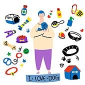 캐릭터, 오브젝트 (묘사), 라인아트 (일러스트기법), 팬시, 반려동물, 애완견 (개)