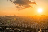 서울 (대한민국), 한국 (동아시아), 도시풍경 (도시), 도시풍경, 도심지, 일몰, 남산 (서울), 남산서울타워 (서울)