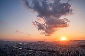 서울 (대한민국), 한국 (동아시아), 도시풍경 (도시), 도시, 도심지, 일몰, 남산 (서울), 남산서울타워 (서울)