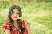 여성, 여름, 휴식, 민들레홀씨, 미소