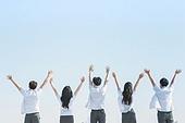 십대 (인간의나이), 교복, 미소, 밝은표정, 고등학생, 학교생활, 계단, 웨이빙 (제스처)