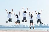 십대 (인간의나이), 교복, 미소, 밝은표정, 고등학생, 학교생활, 계단, 점프, 활력 (컨셉)