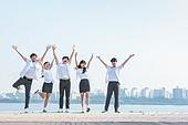 십대 (인간의나이), 교복, 미소, 밝은표정, 고등학생, 학교생활, 계단, 희망, 활력 (컨셉)