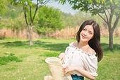 여성, 여름, 자연 (주제), 뷰티, 미소, 밝은표정