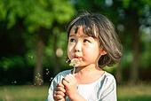 한국인, 어린이 (인간의나이), 유치원생, 소녀 (여성), 여름방학, 방학, 순수, 행복, 민들레, 민들레홀씨 (씨)
