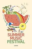 그래픽이미지, 이벤트페이지, 상업이벤트 (사건), 여름, 팝업, 수박, 파라솔 (인조물건)