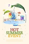 그래픽이미지, 이벤트페이지, 상업이벤트 (사건), 여름, 팝업, 차가운음료 (무알콜음료), 수영장