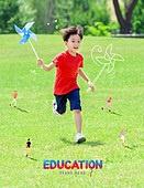 그래픽이미지, 브로슈어, 어린이 (인간의나이), 장난치기 (감정), 공부 (움직이는활동), 일러스트, 방학, 초등학생, 가르치는 (움직이는활동), 소년, 공원, 바람개비