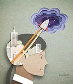 Cut Or Torn Paper (이미지테크닉), Paper Craft (이미지테크닉), 비즈니스, 옆모습, 고층빌딩 (회사건물), 비즈니스맨, 로켓 (우주선)