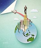 Cut Or Torn Paper (이미지테크닉), Paper Craft (이미지테크닉), 비즈니스, 고층빌딩 (회사건물), 성공, 비즈니스맨