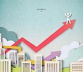 Cut Or Torn Paper (이미지테크닉), Paper Craft (이미지테크닉), 비즈니스, 고층빌딩 (회사건물), 성공, 비즈니스맨, 화살표, 올라가기 (움직이는활동)