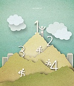 Cut Or Torn Paper (이미지테크닉), Paper Craft (이미지테크닉), 비즈니스, 숫자, 산, 고층빌딩 (회사건물)