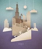 Cut Or Torn Paper (이미지테크닉), Paper Craft (이미지테크닉), 비즈니스, 고층빌딩 (회사건물), 팝업북, 구름