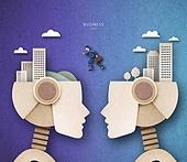Cut Or Torn Paper (이미지테크닉), Paper Craft (이미지테크닉), 비즈니스, 로봇, 4차산업혁명 (산업혁명), 고층빌딩 (회사건물), 비즈니스맨