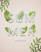 페이퍼아트, 타이포그래피 (문자), 축하이벤트 (사건), 상업이벤트 (사건), 계절, 포스터, 잎, 여름