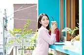 여성, 카페, 카페문화, 휴식, 미소