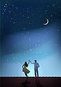 환상 (컨셉), 여름, 밤 (시간대), 하늘, 별 (우주), 실루엣, 달 (하늘), 커플, 춤