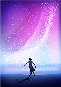환상 (컨셉), 여름, 밤 (시간대), 하늘, 별 (우주), 실루엣, 은하수