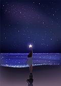 환상 (컨셉), 여름, 밤 (시간대), 하늘, 별 (우주), 실루엣, 바다, 여성 (성별), 뒷모습