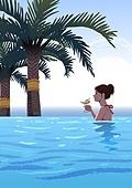 호캉스, 호텔, 휴가, 여름, 휴가 (주제), 혼자여행 (여행), 여성 (성별), 싱글라이프 (주제), 수영장, 야자나무 (열대나무), 칵테일