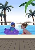호캉스, 호텔, 휴가, 여름, 휴가 (주제), 수영장, 아기 (인간의나이), 엄마, 야자나무 (열대나무)
