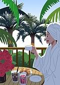 호캉스, 호텔, 휴가, 여름, 휴가 (주제), 혼자여행 (여행), 여성 (성별), 싱글라이프 (주제), 야자나무 (열대나무), 아침식사 (식사)