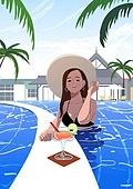 호캉스, 호텔, 휴가, 여름, 휴가 (주제), 혼자여행 (여행), 여성 (성별), 싱글라이프 (주제), 수영장, 칵테일