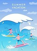 일러스트, 벡터 (일러스트), 여름, 휴가 (주제), 해변, 수영 (수상스포츠), 여행, 여름방학
