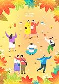 일러스트, 상업이벤트 (사건), 가을, 소풍 (아웃도어), 단풍나무 (낙엽수), 벼룩시장 (시장)