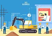 5G, 기술, 4차산업혁명 (산업혁명), 통제 (컨셉), 건설현장 (인조공간), 포크레인, 노동자 (직업), 비즈니스
